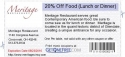 20% Off Food (Lunch or Dinner)