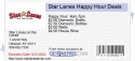 Star Lanes Happy Hour Deals