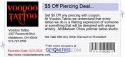 $5 Off Piercing Deal...